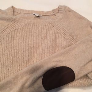 Adorable cream sweater with elbow patches